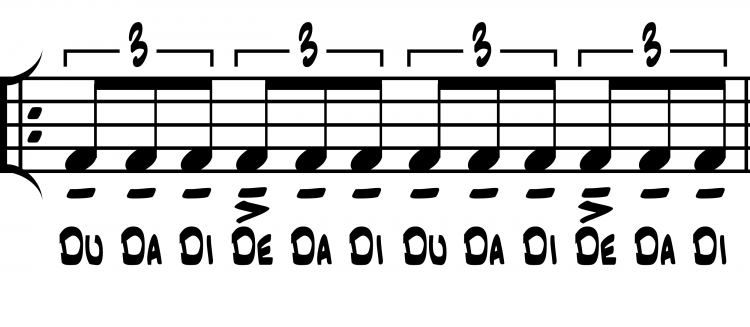 Figure 3. Notated example of triplet divisions in swing style as audiated and performed with beat-function rhythm syllables.