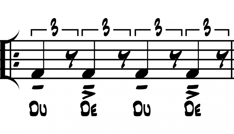 Figure 2. Notated example of how macrobeats and microbeats actually feel and sound in swing style with beat-function rhythm syllables.