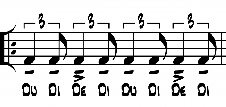 Figure 4. Notated example of shuffle rhythm as audiated and performed with rhythm syllables.