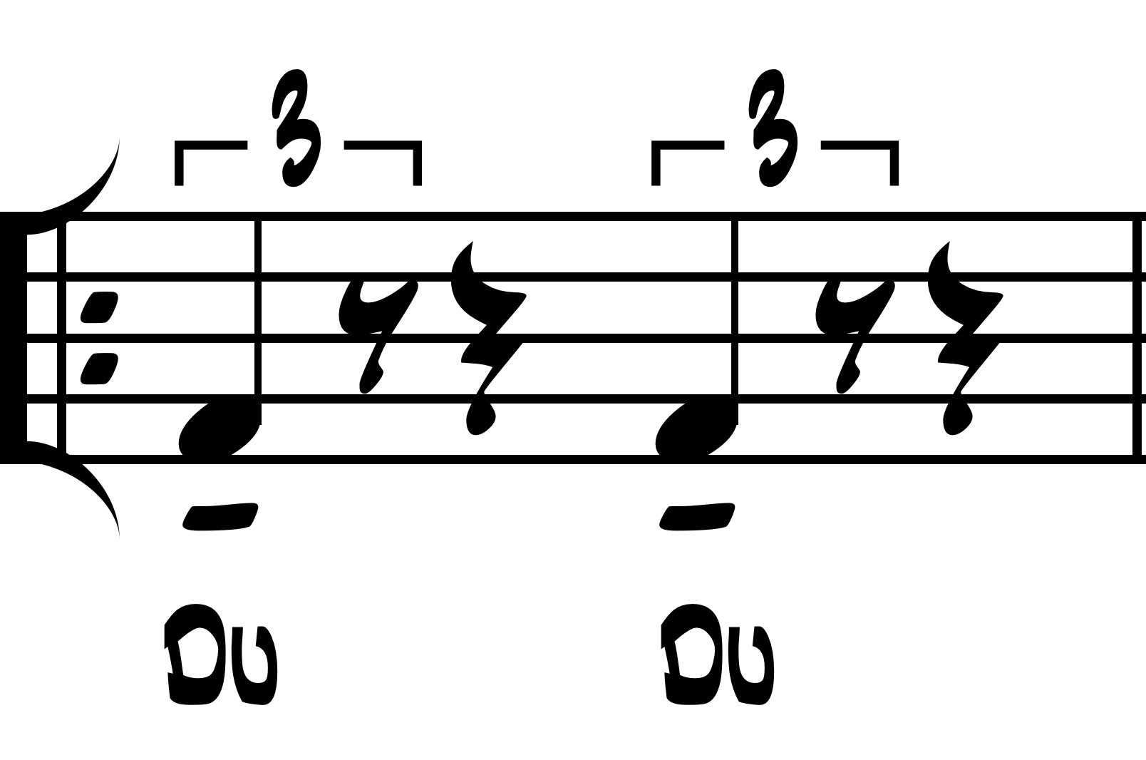 Figure 1. Notated example of how macrobeats actually feel and sound in swing style with beat-function rhythm syllables.