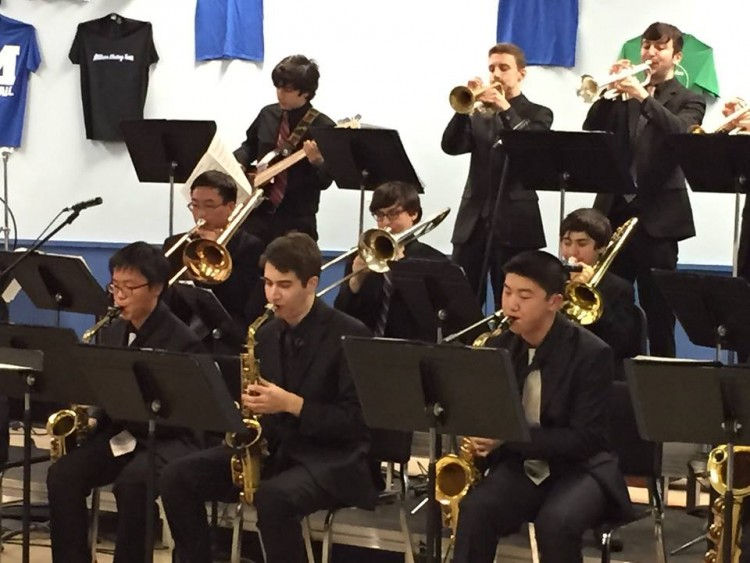 Louis Danowsky, All National Jazz Ensemble member, on lead alto with the MHS Stage Band.