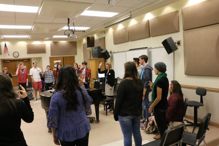 Students participate in one of Fryling's music classes. Photo by Laura Bella