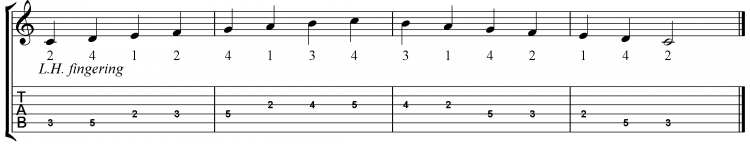 C Major Scale (2nd Position)