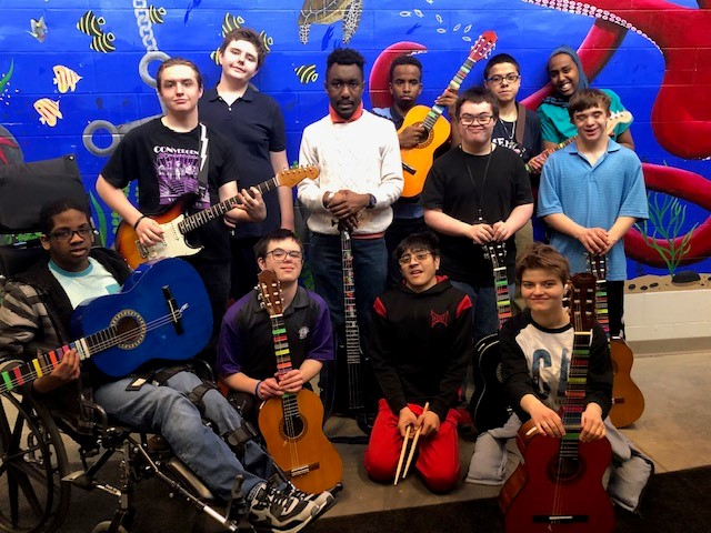 guitar ensemble of differently abled students