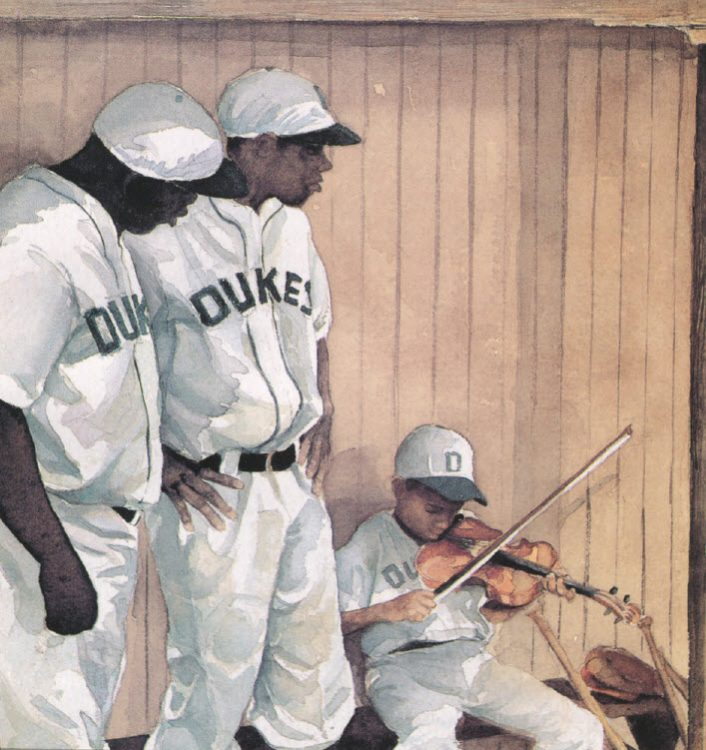 two African American Dukes baseball players watching young African American boy play violin