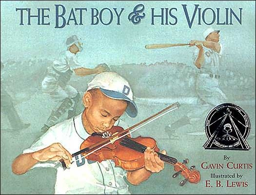 The Bat Boy and His Violin book cover with African American boy in baseball uniform playing violin