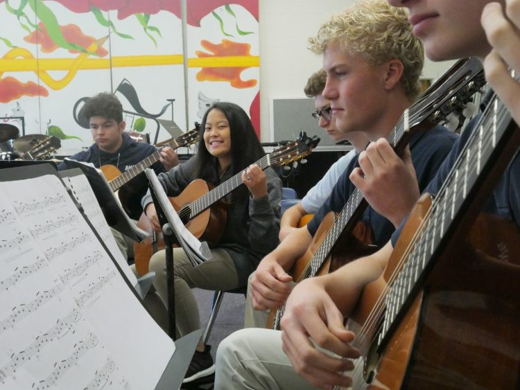 guitar students in class with music stands and sheet music