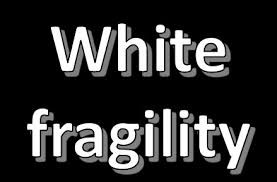 words white fragility on black background