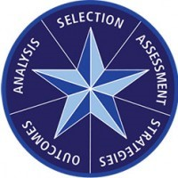 blue circle with star in center and words Outcomes Analysis Selection Assessment Strategies