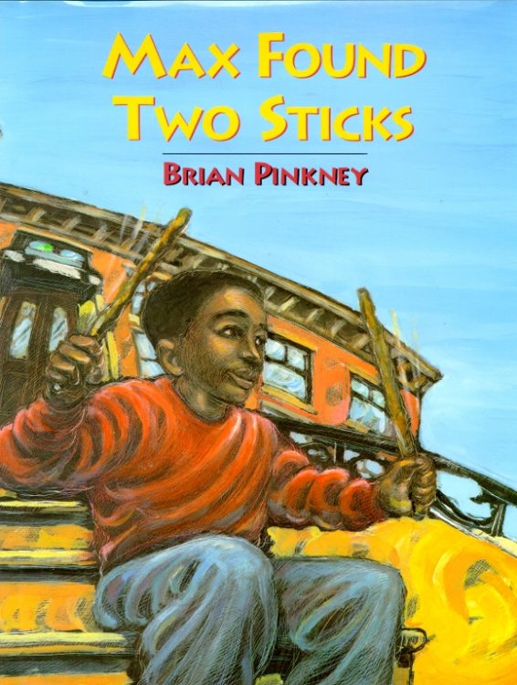book cover for Max Found Two Sticks with young boy drumming with two sticks a book to help with instrumental compositions