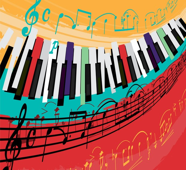 music notes and piano keys on multicolored background