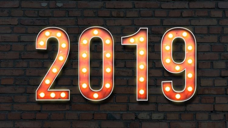 the year 2019 in lights on brick wall background