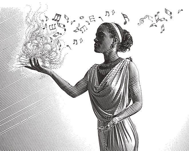 Engraving portrait of a mixed race female musician composing music