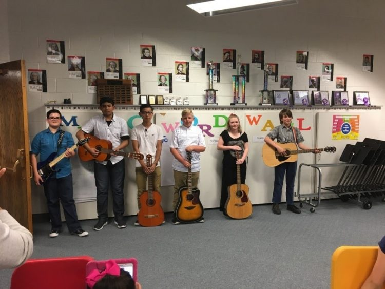 guitar students in classroom
