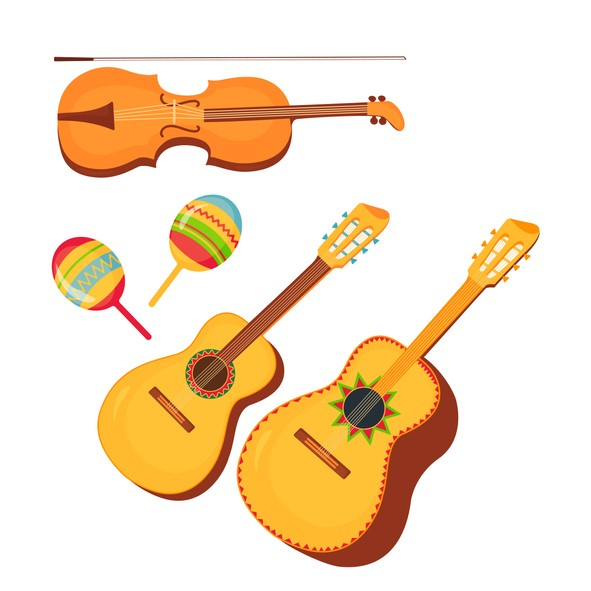 vector of guitar, guitarron, violin, maracas resolutions to expand mariachi
