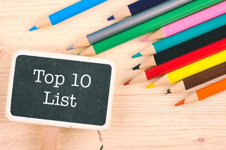 word TOP 10 LIST written on wooden signage over colorful pencil on desk