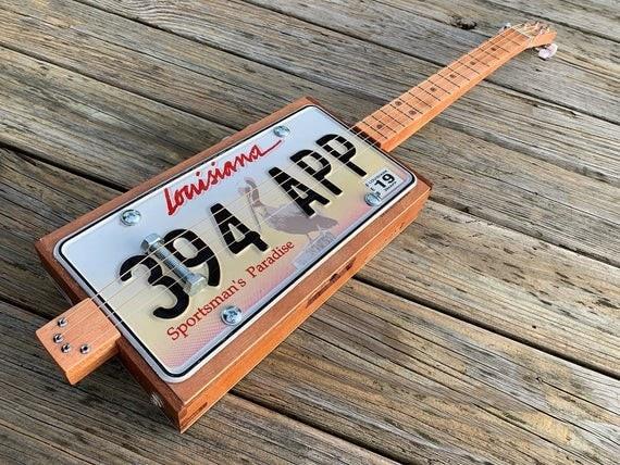 Pelican State of Louisiana license plate guitar