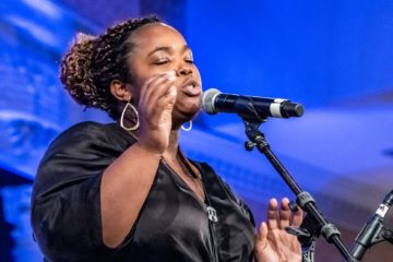 2019 ANHE jazz singer at microphone