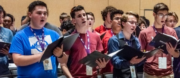 2019 ANHE male choir students rehearsing