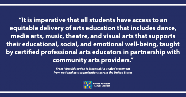 Arts Education Is Essential statement