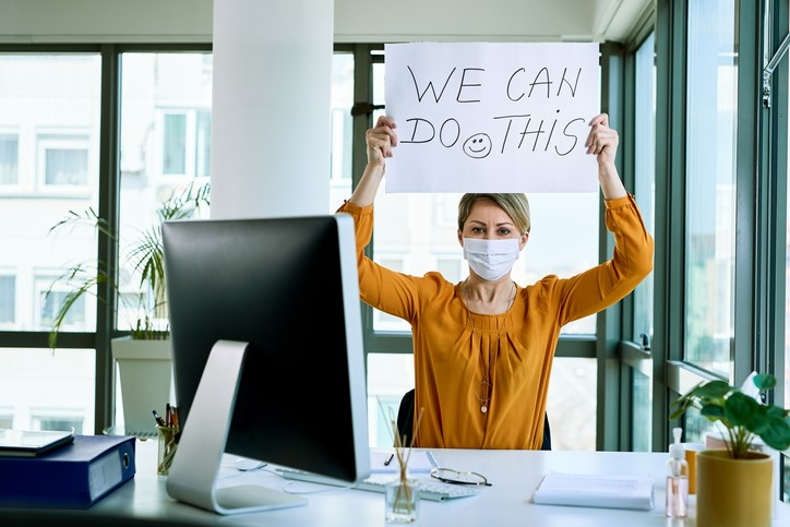 woman holding placard with we can do this text as support during virus epidemic