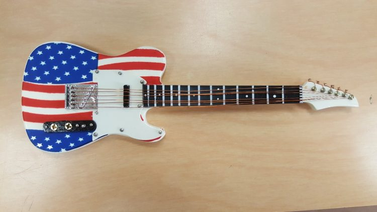 electric guitar with American flag design