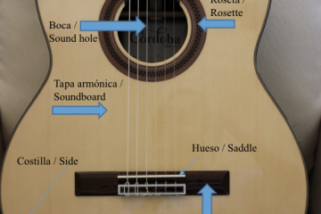 guitar parts in English and Spanish