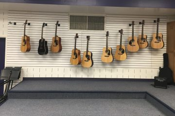 guitars stored on wall