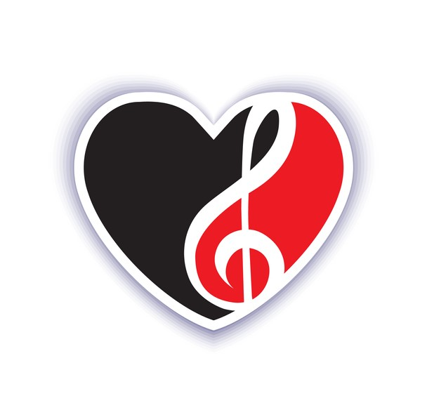 red and black emblem on a musical theme