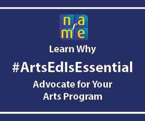 Arts Ed Is Essential web banner ad blue
