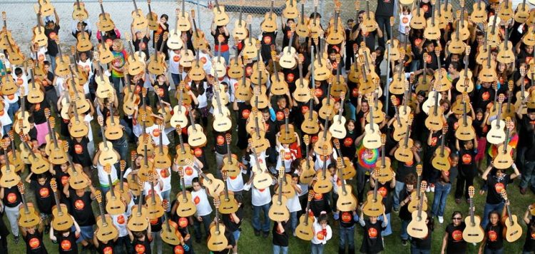 Little Kids Rock students with guitars