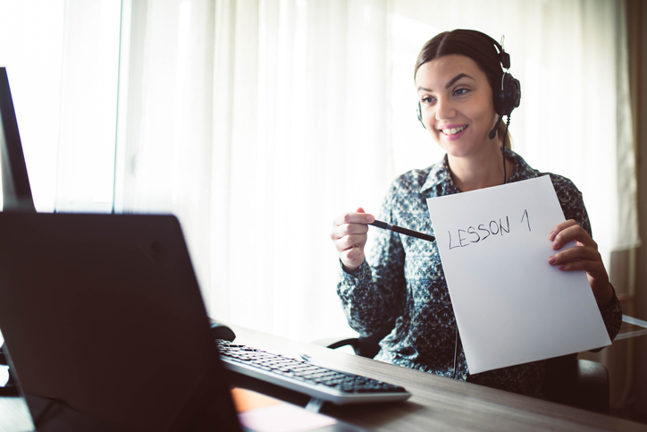 young woman giving classes online