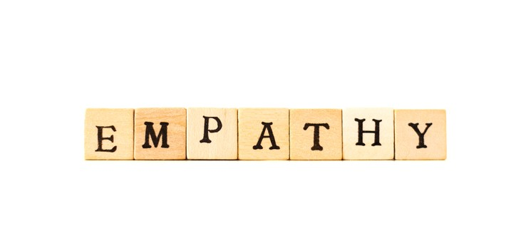 EMPATHY is part of learning in performing arts Written in Wood Block Letters, White Background