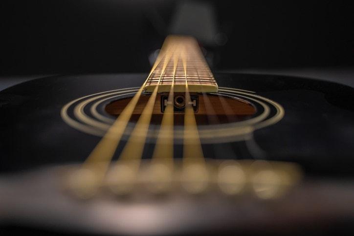 Detail of black classical guitar