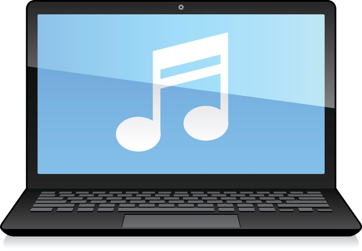Laptop Displaying Musical Note online rehearsing