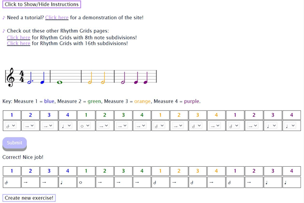 computerized Rhythm Grids with color