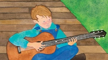 Gourley illustration of Doc Watson playing guitar as a boy