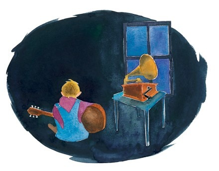 Gourley illustration of Doc Watson playing guitar at night as a young man