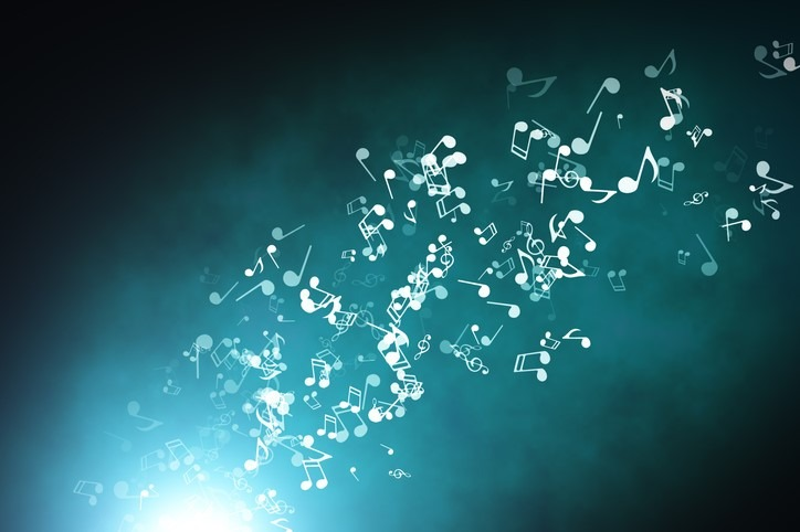 Floating musical notes on an abstract blue background with flares 3d illustration