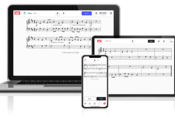 sight reading software displayed on laptop and mobile devices
