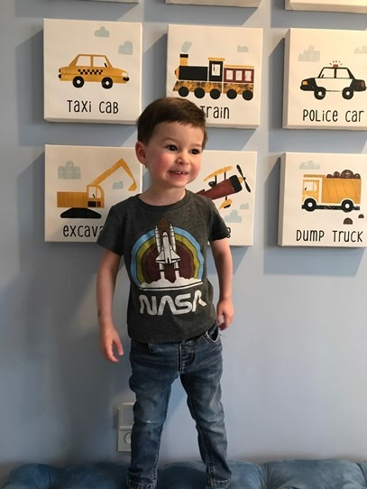 Hudson Reichl with space shuttle shirt