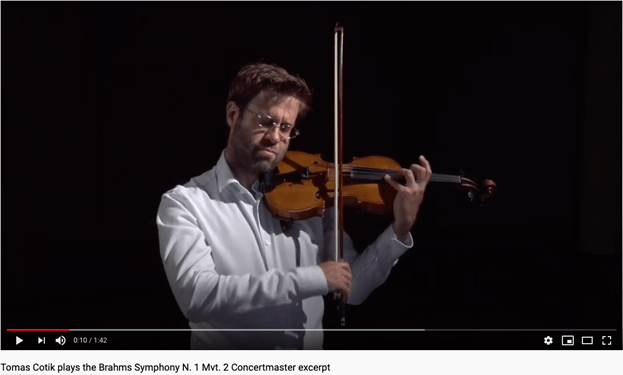 Tomas Cotik playing portion of Brahms Symphony on violin