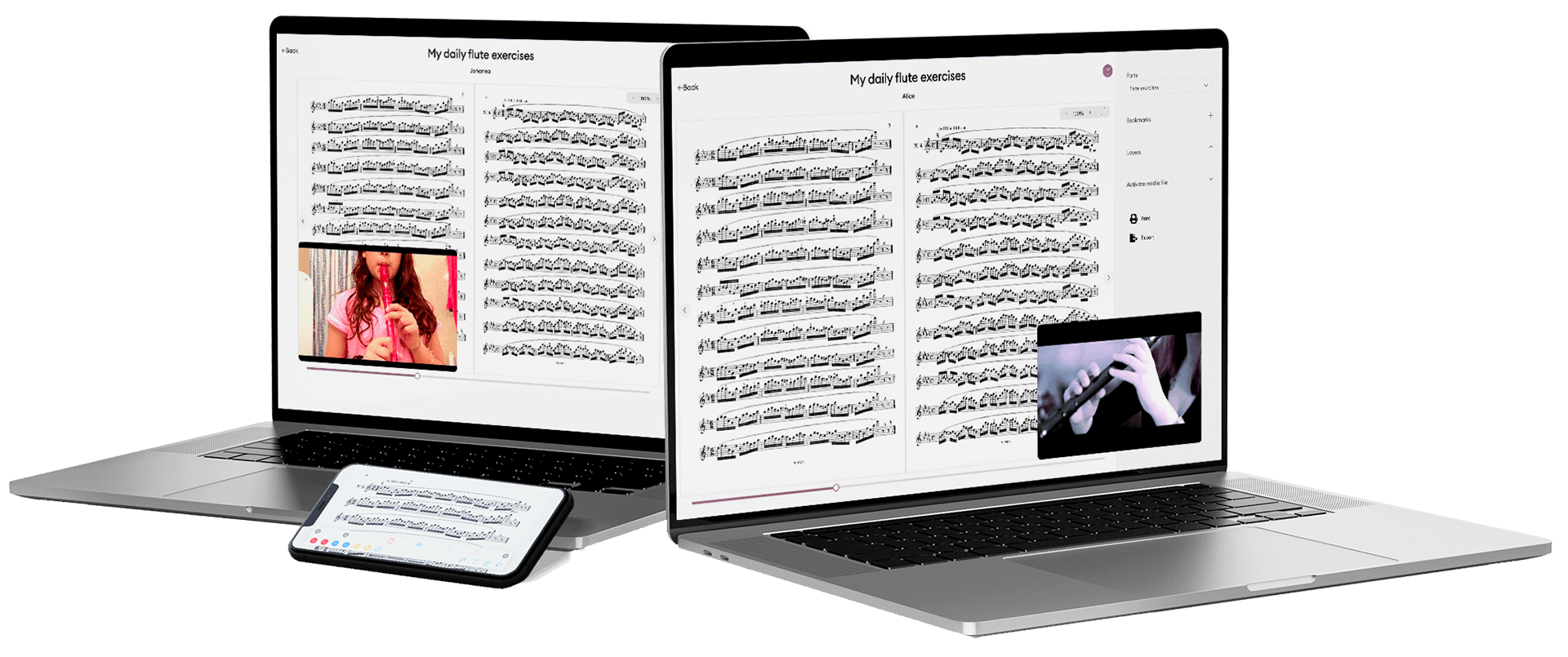 two mac books flute exercise