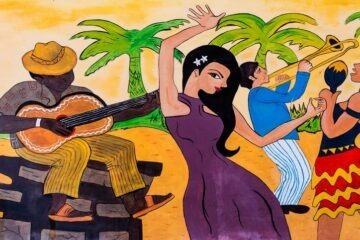 Cuban musicians playing the guitar and trumpet woman dancing