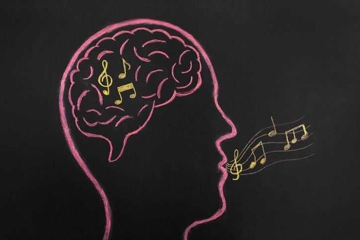 Music notes inside brain sketched on blackboard