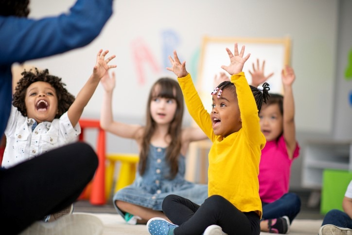 group of preschool students in music class