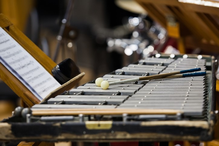 Glockenspiel in the orchestra closeup