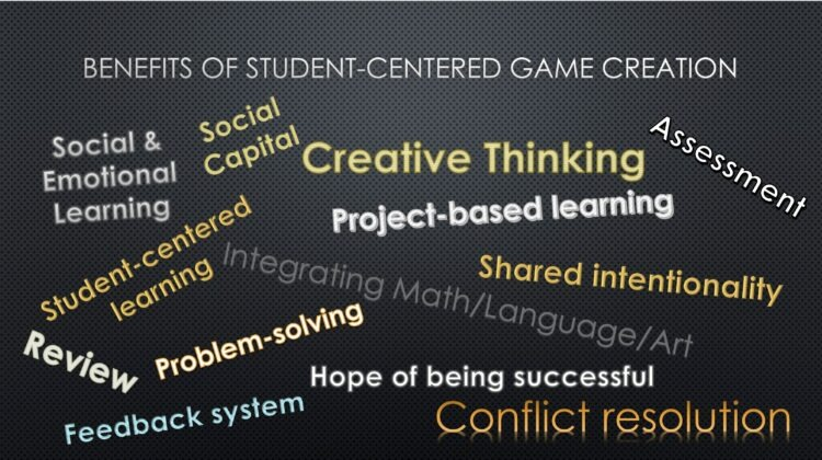 Benefits of student centered game creation word cloud