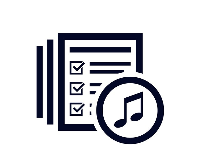 Music note icon with document list with tick check marks