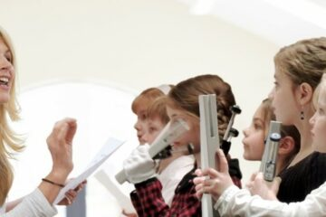 music teacher students with handchimes